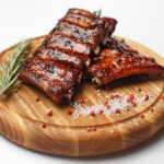 pork ribs on a wooden